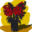 Vector de stock : Red flowers in vase