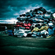 Stock Photo: Pile of discarded cars