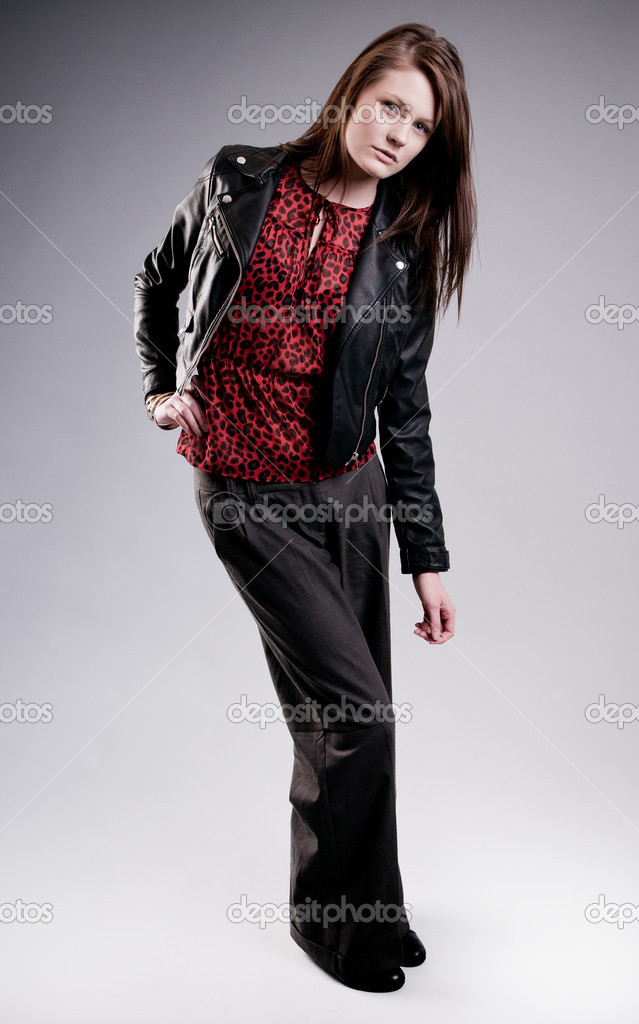 A beautiful caucasian model wearing a leather jacket  Stock Photo #2795467