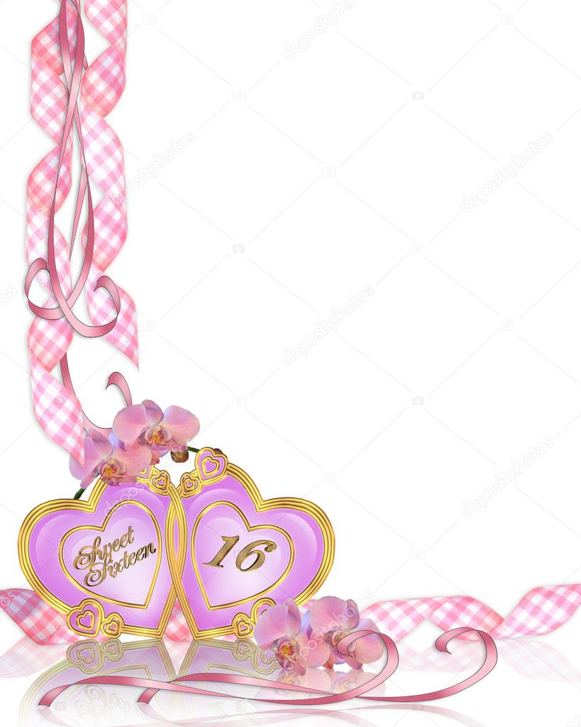 Image and illustration composition of pink orchids for sweet 16 birthday party invitation template with copy space  Stock Photo #2697977