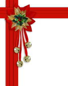 Christmas border Bells, Holly and ribbo — Stock Photo