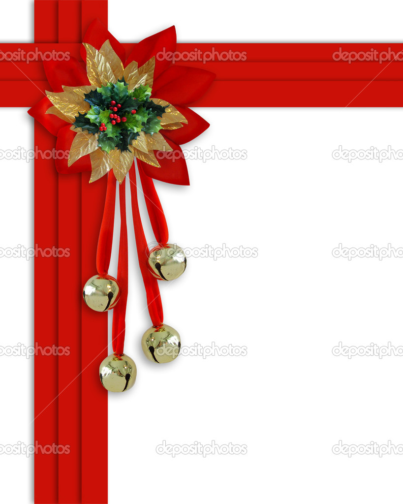 Christmas border Bells, Holly and ribbo — Stock Photo © Irisangel ...