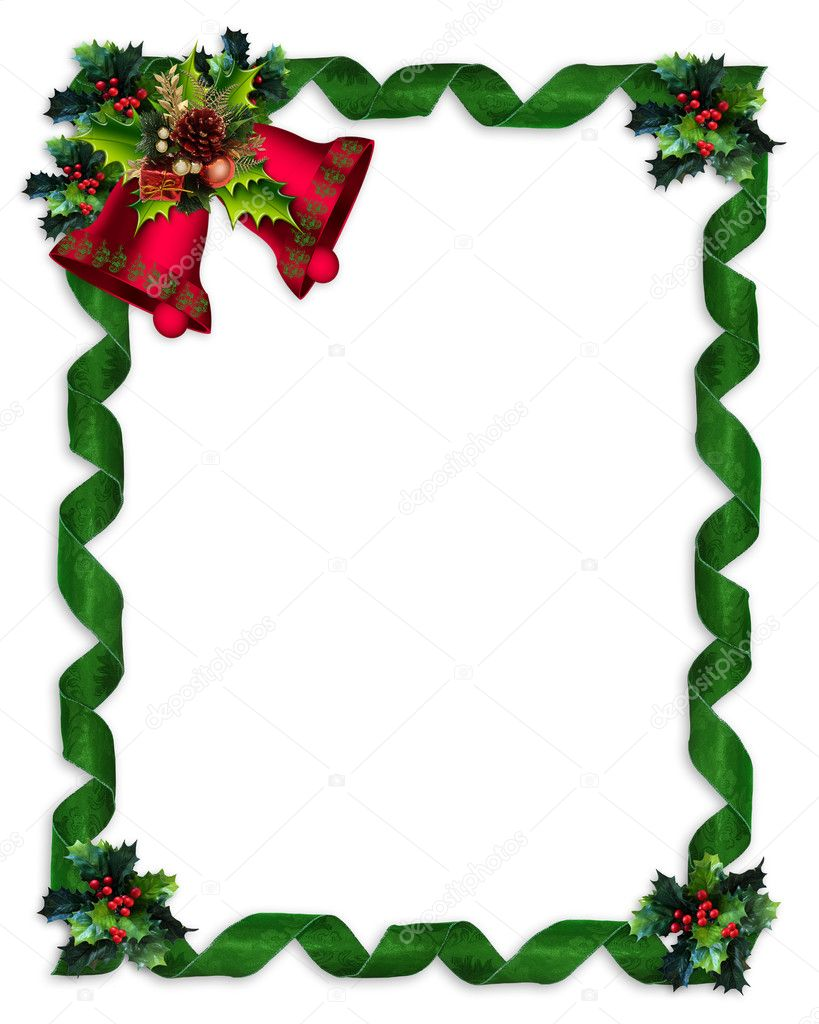 Christmas design with holly leaves, bells and green damask ribbons for greeting card border, invitation or background.  Stock Photo #2706053