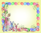 Easter Border Eggs and bunnies — Stock Photo