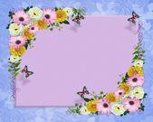 Flores de primavera frontera mariposas — Foto de Stock