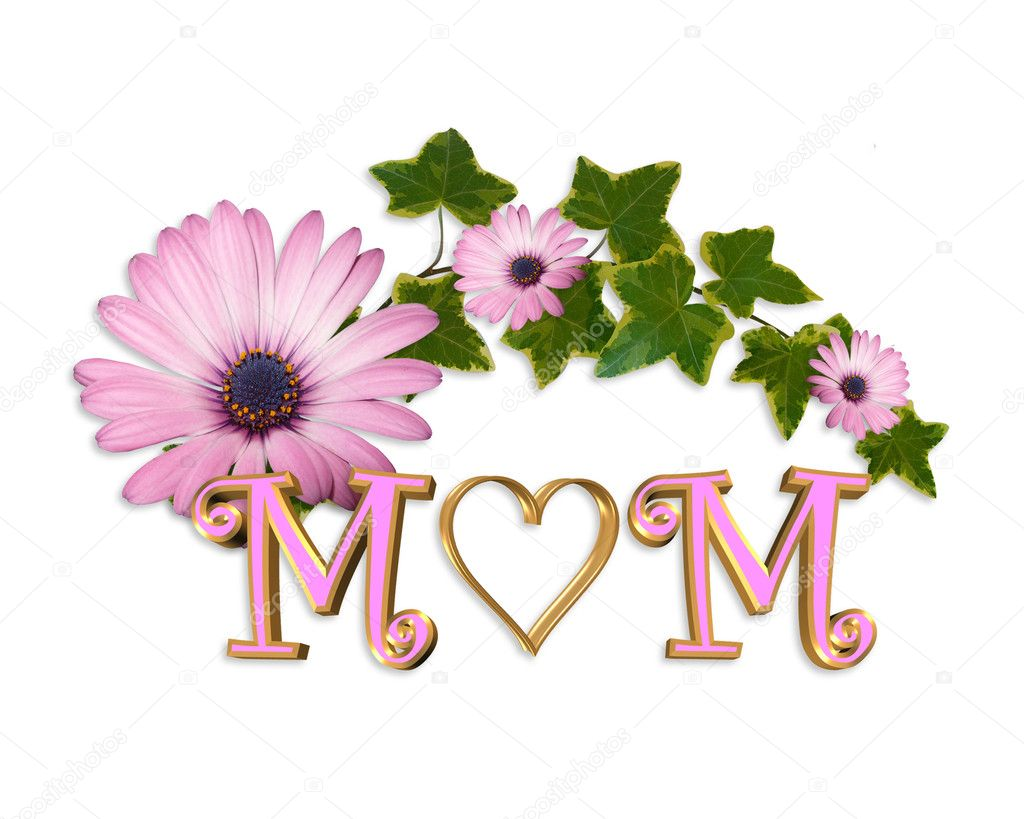 Illustration and image composition gold heart in word MOM, pink daisy and ivy for Mothers day greeting card or background  Stock Photo #2797607