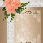 Wedding invitation hibiscus lace — Stock Photo