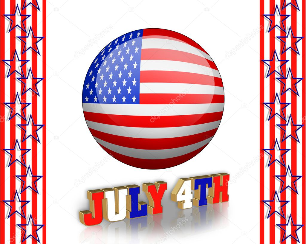 4Th of July clip art and stars, stripes patriotic American borders for holiday greeting, invitation or stationery — Stock Photo #2965378