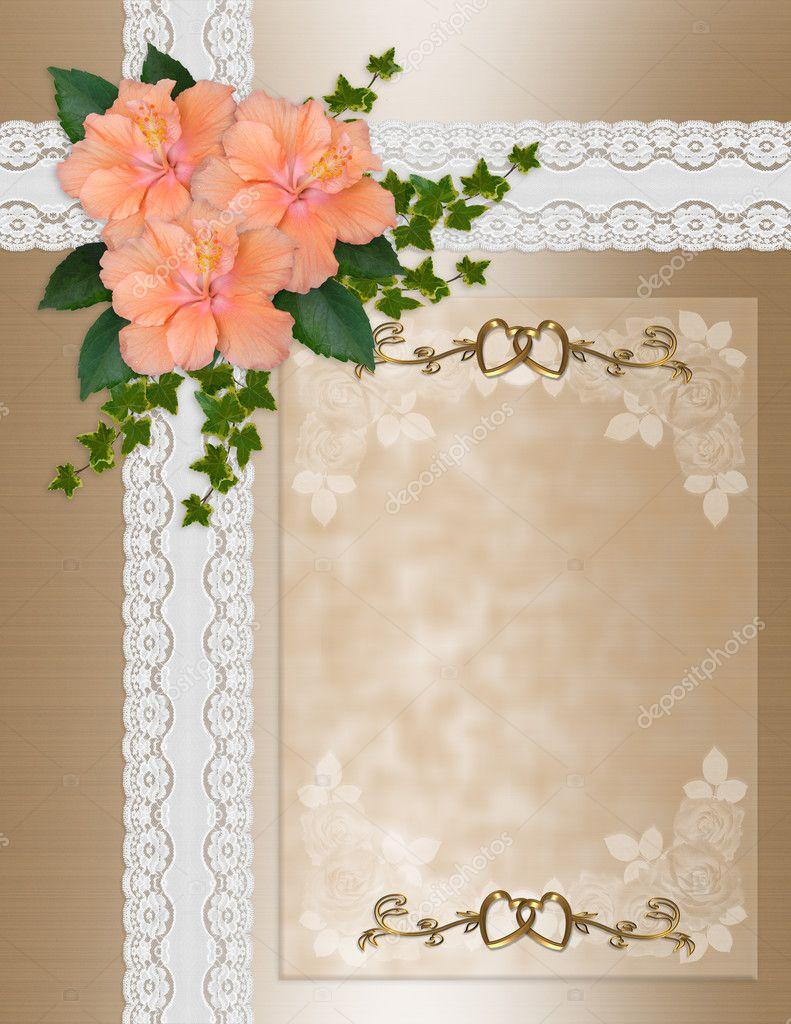 wedding invitation hibiscus lace  u2014 stock photo  u00a9 irisangel