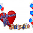 4th of July patriotic heart border - Stock Photo