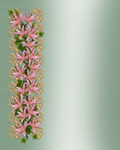 Wedding invitation elegant lilies — Stock Photo