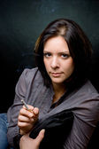 Portrait of a girl with a cigar — Stock Photo