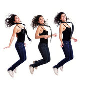 Attractive young girl jumping — Foto de Stock