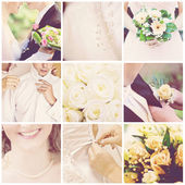 Collage of nine wedding photos — Foto de Stock