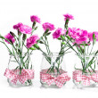 Bouquet of pink flowers in vase isolated on white background — Stock Photo