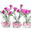 Bouquet of pink flowers in vase isolated on white background - Stock Photo