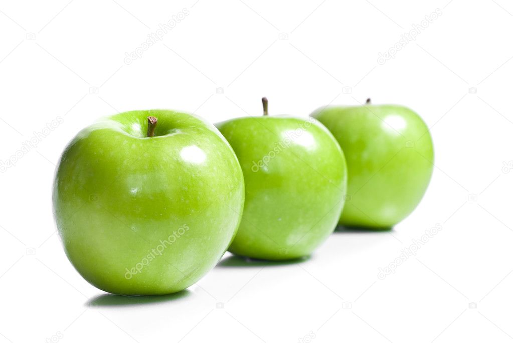  Fresh green apples isolated on white background   Stock Photo #3261877