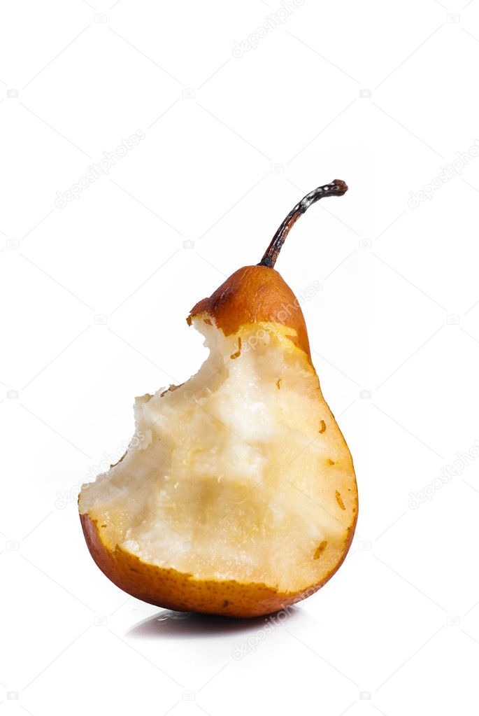 Half eaten pear isolated on white background  Foto de Stock   #3263333