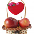 Stock Photo: Small basket, apple and heart
