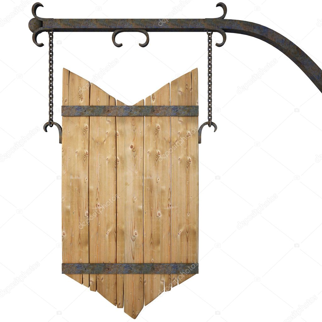 Wooden sign on the chains. with clipping path. — Stock Photo #2692110
