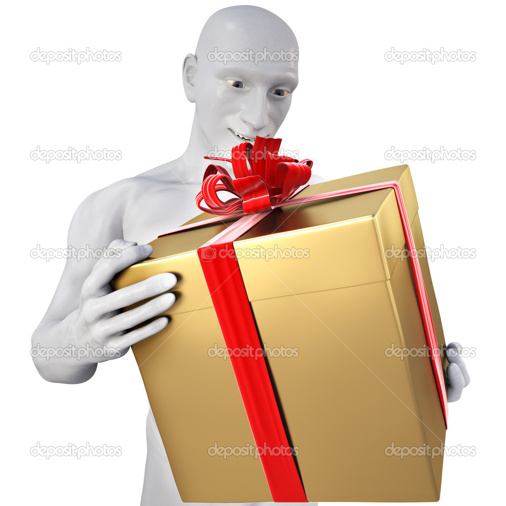 Man with surprise in his hands a gift. with clipping path. — Stock Photo #2781096