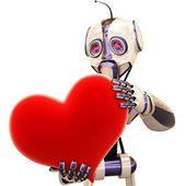 Robot and heart — Stock Photo