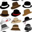 Collection of hats - Stok Vektör