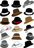 Collection of hats — Stock Vector