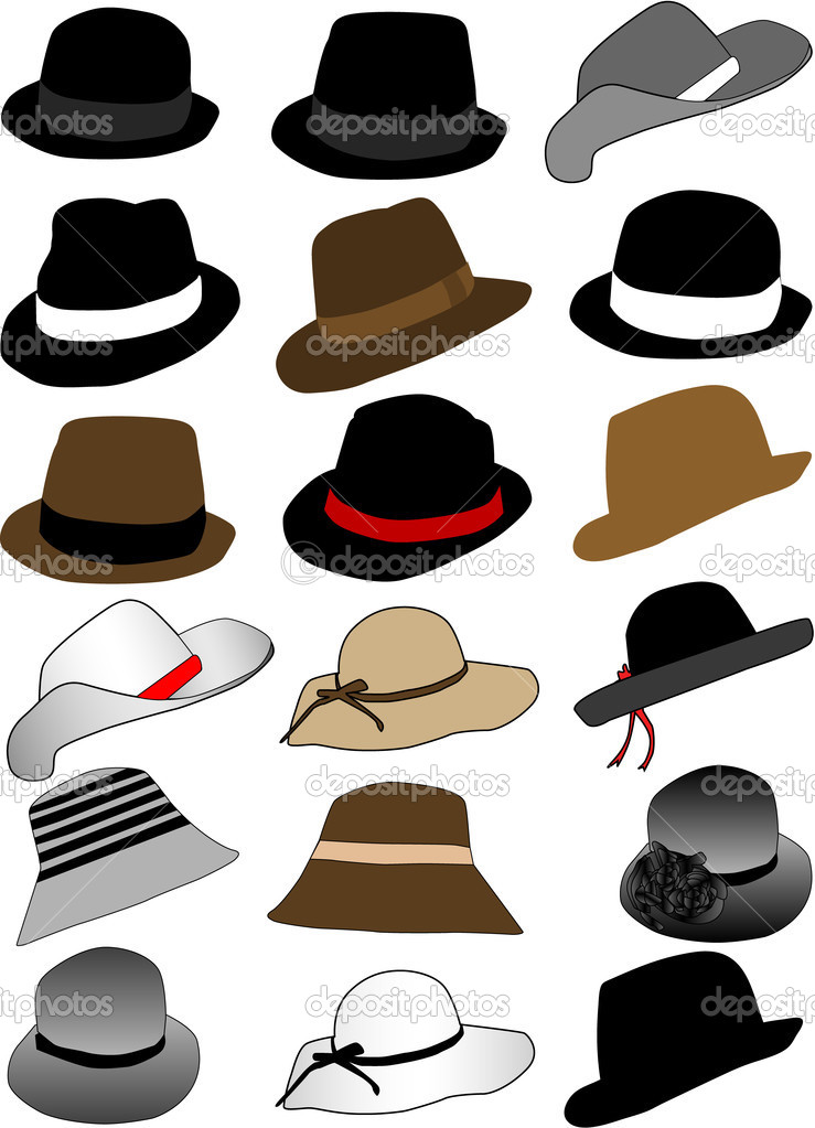 Collection of hats — Image vectorielle #3693972
