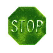 Stop Sign Made of Green Grass — Stock Photo