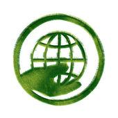 Green Grass Hand Holding Globe — Stock Photo