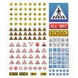 Big collection of traffic signs - Stock Vector