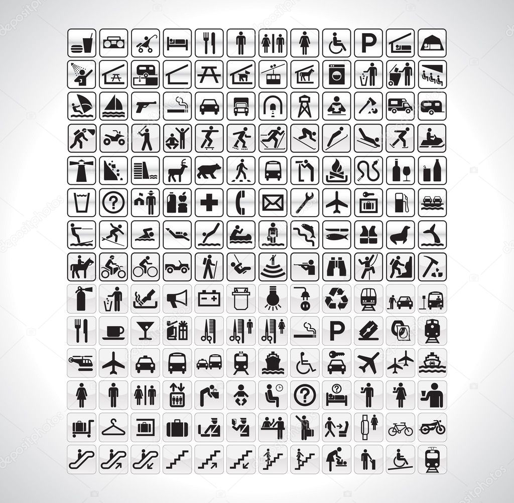 A big collection of all pictographs you will ever need. — 图库矢量图片 #2965357