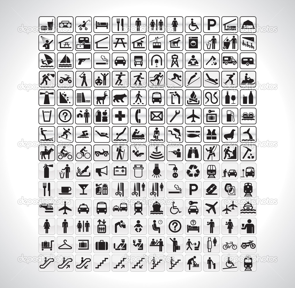 A big collection of all pictographs you will ever need. — Stockvectorbeeld #2965357