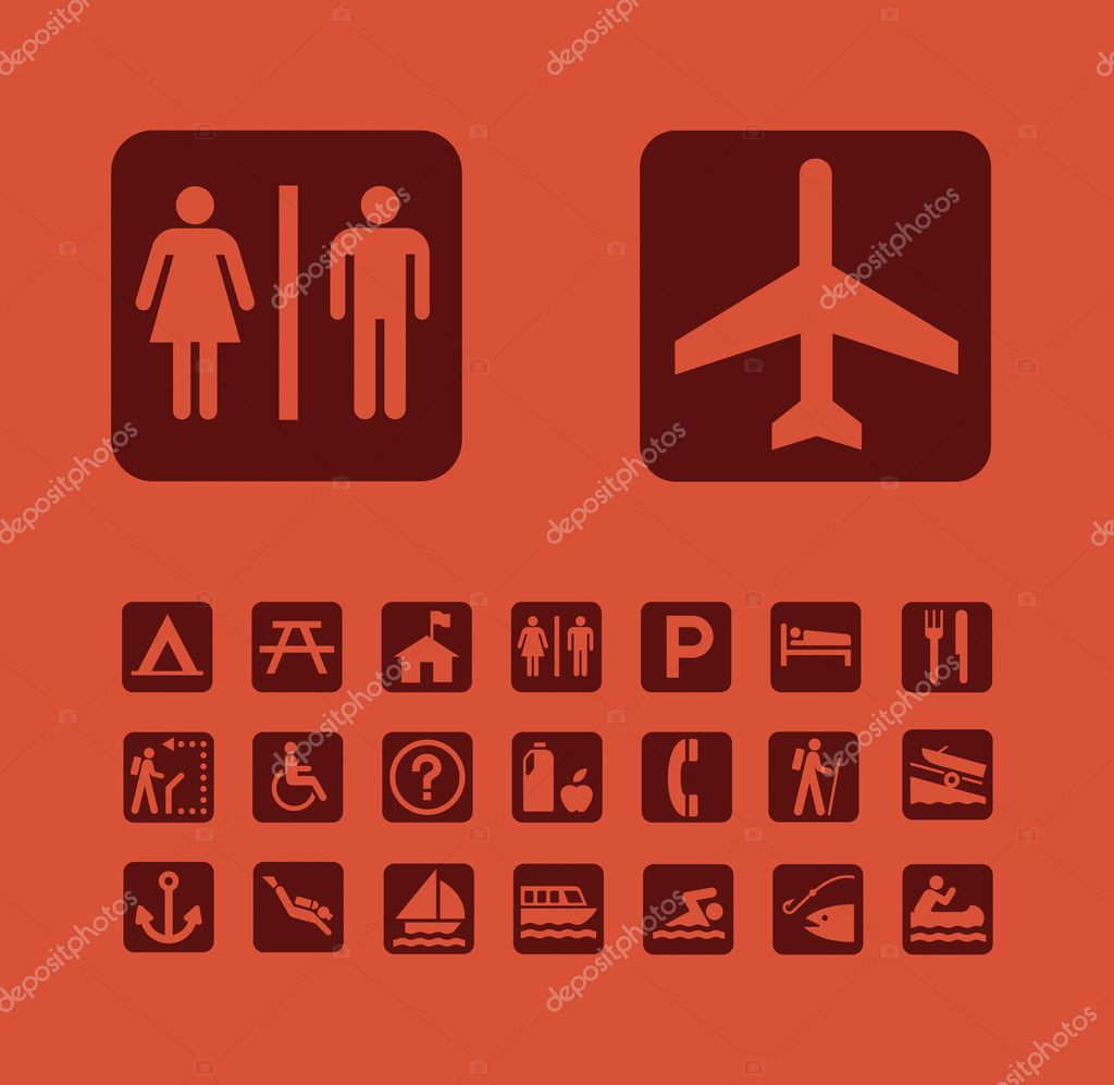 Map Pictographs Icons Set — Stock Vector #2965368