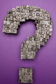 Question Mark made by Metal Typescript — Stock Photo