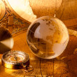 Stock Photo: Gold globe and compass