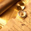Stock Photo: Treasure Map and compass