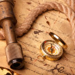 Treasure Map and compass - Stock fotografie
