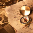 Treasure Map and compass - ストック写真