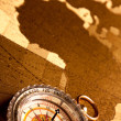 Treasure Map and compass — Stock Photo