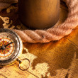 Treasure Map and compass — Stock Photo #3128646