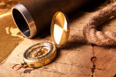 Treasure Map and compass — Stock Photo