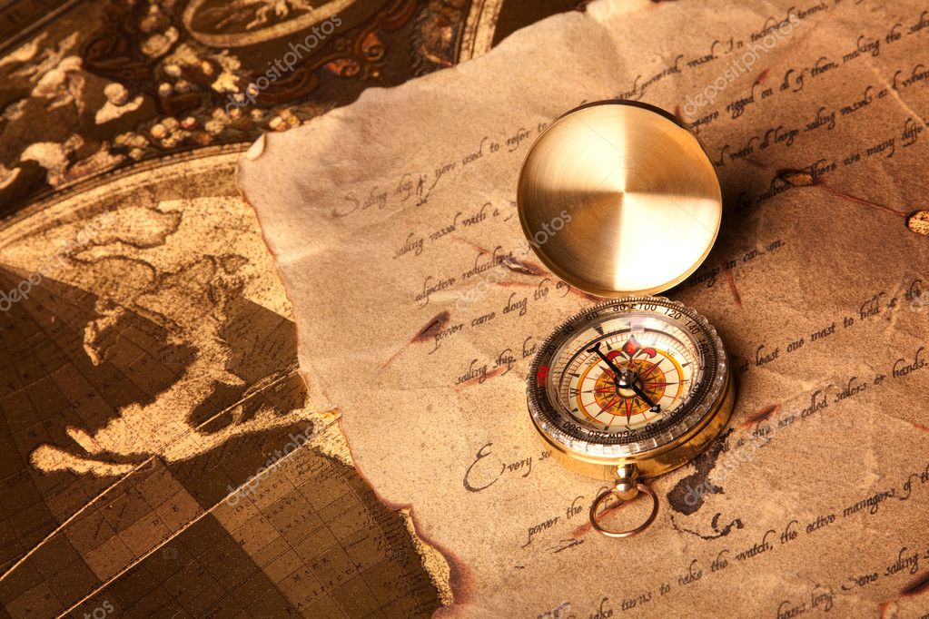 Treasure Map and compass — Stock Photo © fikmik #3128475