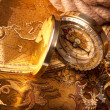 Treasure Map and compass - Stock Photo