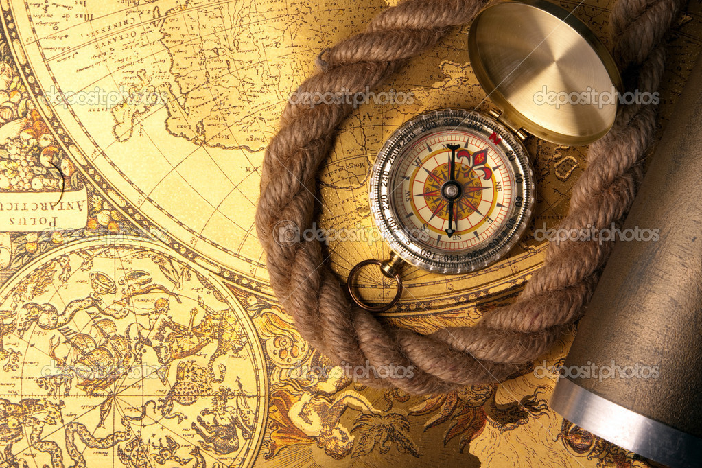 Treasure Map and compass — Stock Photo © fikmik #3136002