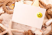 砂貝殻と !最高の休日 — ストック写真