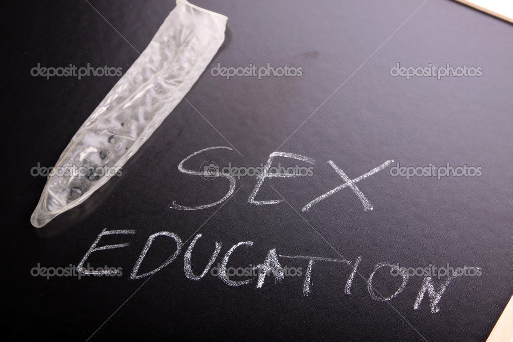 School concept - sex education, chalk, blackboard and books!