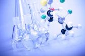 Laboratory Glassware in blue — Stock Photo