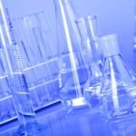 Laboratory Glassware in blue — Stock Photo #3480044